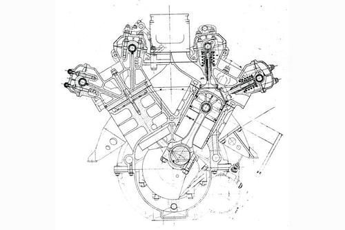 """Sezione trasversale del motore V6 della Lancia D24, straordinaria vettura sport degli anni Cinquanta. Sono chiaramente visibili le canne dei cilindri riportate in umido e le punterie """"tipo Jano"""""""