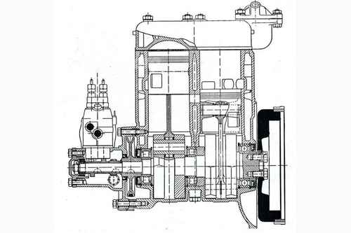 La sezione mostra la grande semplicità costruttiva del bicilindrico Goliath di 700 cm3 (in seguito portati a 900), che dal 1952 è stato munito di un sistema di iniezione diretta